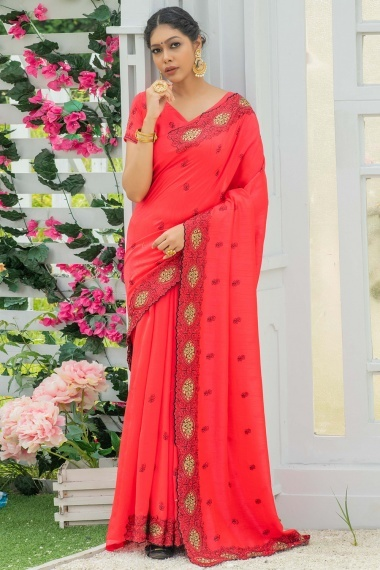 Red Georgette Silk Saree with Embroidery
