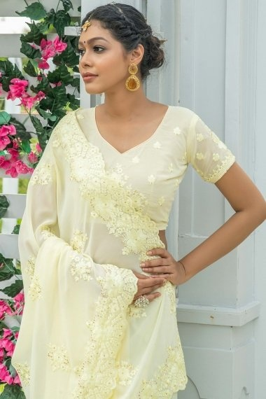 Light Yellow Georgette Silk Embroidered Floral Butta Saree with Stone Work