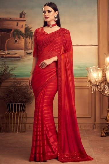 Red Art Silk Saree with Embroidered Border