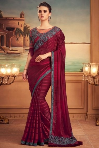 Maroon Art Silk Saree with Embroidered Fringes Lace