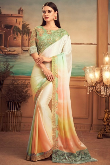 Off White and Multi Colored Art Silk Plain Saree with Embroidered Border and Designer Blouse