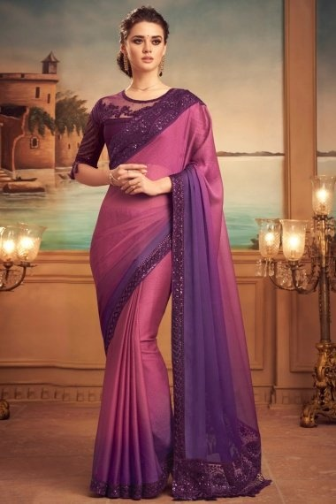Pink and Purple Chiffon Plain Floral Embroidered Border Saree