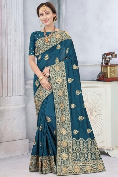Peacock Blue Art Silk Embroidered Saree with Stone