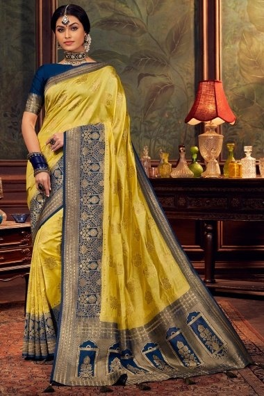 Green Art Silk Floral Woven Saree with Blue Border and Pallu