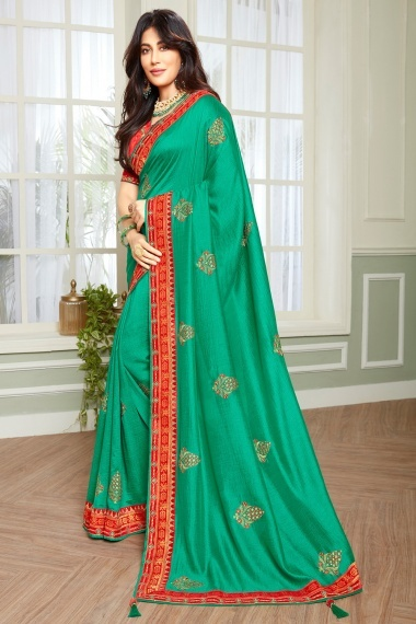 Chitrangada Singh Teal Green Art Silk Embroidered Butta Saree with Red Woven Border