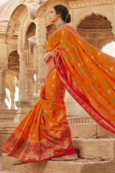Orange Silk Traditional Woven Saree with Red Pallu and Peacock Motifs Border