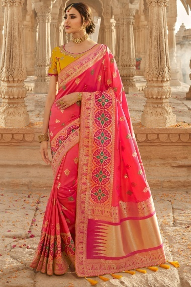 Coral Pink Silk Traditional Woven Saree with Peacock Motifs Border