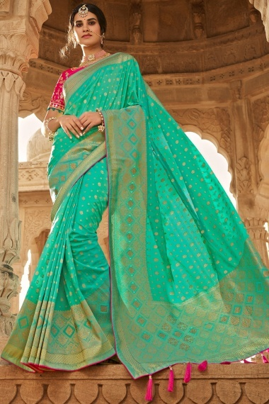 Sea Green Silk Traditional Woven Saree with Stone Work
