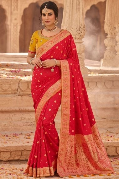 Red Silk Traditional Woven Saree with Floral Border and Pallu