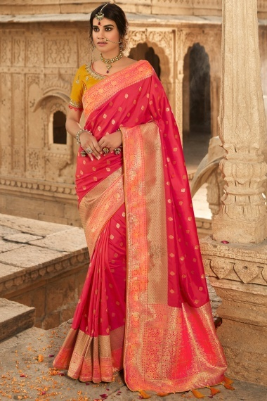 Pink Silk Traditional Woven Saree with Stone Work