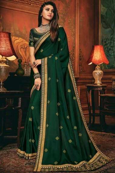 Bottle Green Silk Saree with Embroidery