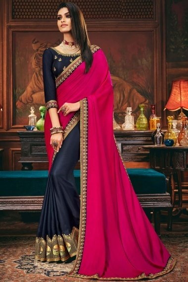 Hot Pink and Blue Silk Half and Half Saree with Embroidered Border