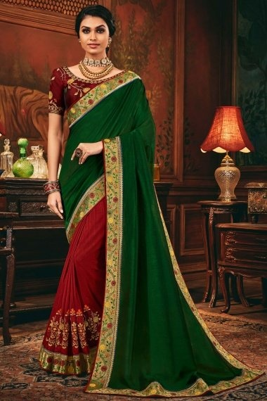 Green and Maroon Silk Half and Half Saree with Floral Embroidery