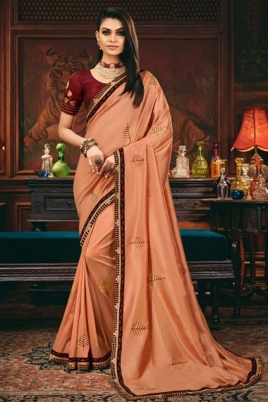 Peach Silk Embroidered Butta Saree with Contarst Lace