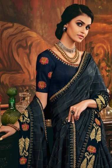 Grey Silk Checks Saree with Embroidered Lace