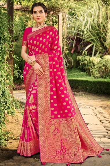 Dark Pink Silk Traditional Woven Saree with Peacock and Elephant Motifs