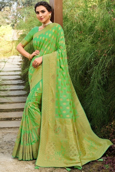Light Green Silk Traditional Woven Saree with Peacock and Elephant Motifs