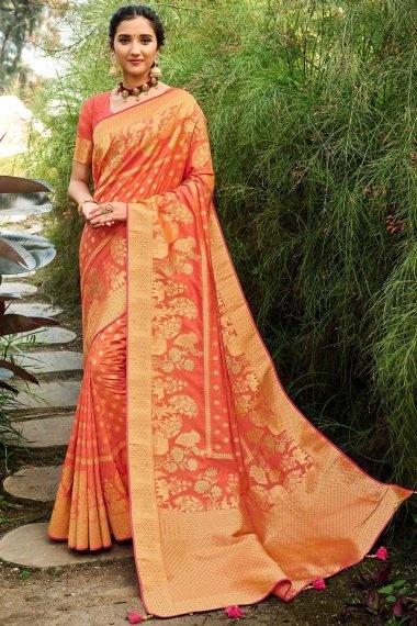 Dark Peach Silk Traditional Woven Saree with Peacock and Elephant Motifs