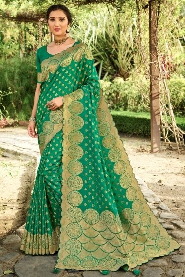 Turquoise Green Silk Traditional Woven Saree with Zari Gold Border and Pallu