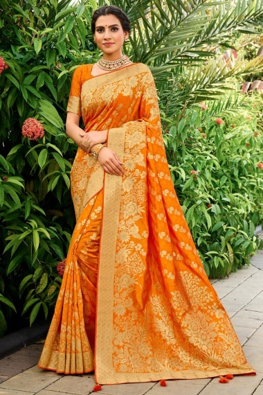 Orange Silk Traditional Floral Woven Saree with Stone Work