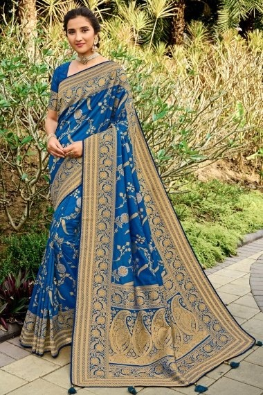 Blue Silk Traditional Floral Jaal Woven Saree with Paisley Motif Pallu