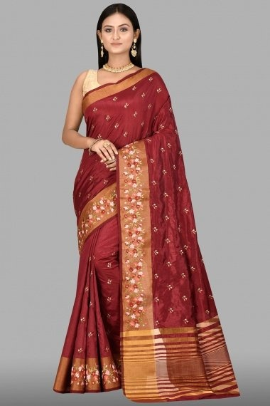Maroon Art Silk Blended Saree with Floral Embroidery