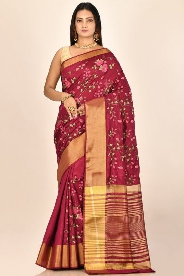 Maroon Art Silk Blended Floral Embroidered Saree