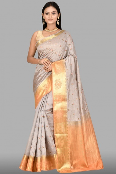 Grey Art Silk Blended Floral Embroidered Saree with Contrast Paisley Border