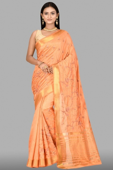 Peach Art Silk Blended Floral Embroidered Saree with Zari Gold Border