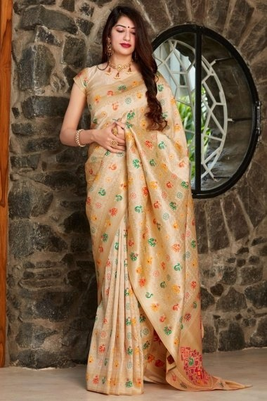 Beige Silk Checks Woven Saree with Peacock and Elephant Motifs