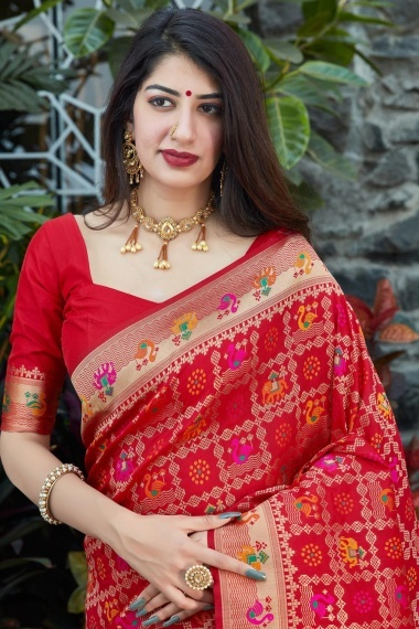 Red Silk Checks Woven Saree with Peacock and Elephant Motifs