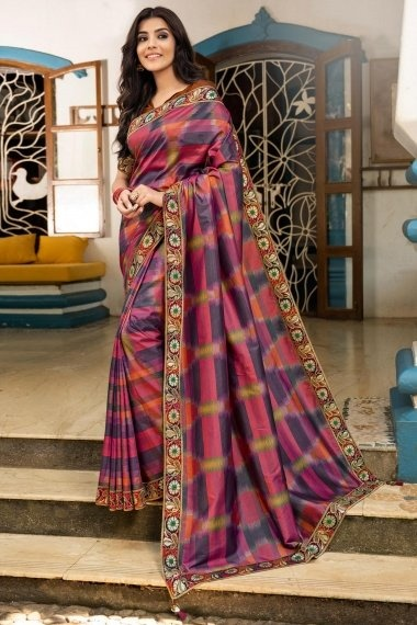 Purple and Multi Colored Art Silk Printed Saree with Floral Border