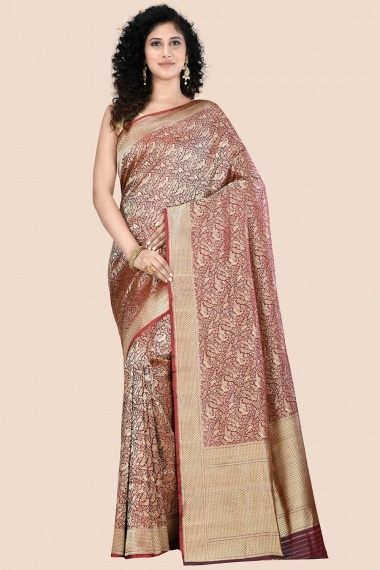 Brown and Golden Silk All Over Woven Saree with Bird Motifs