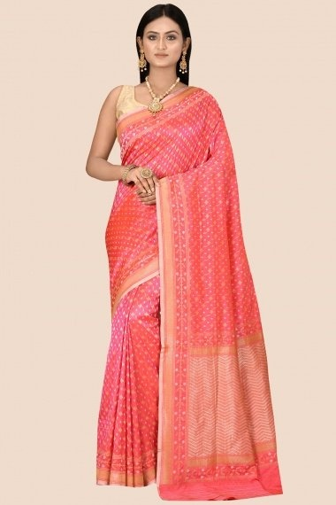 Coral Pink Silk All Over Woven Saree