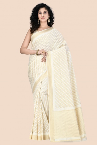 Off White and Golden All Over Woven Polka Dots Saree with Zigzag Pallu