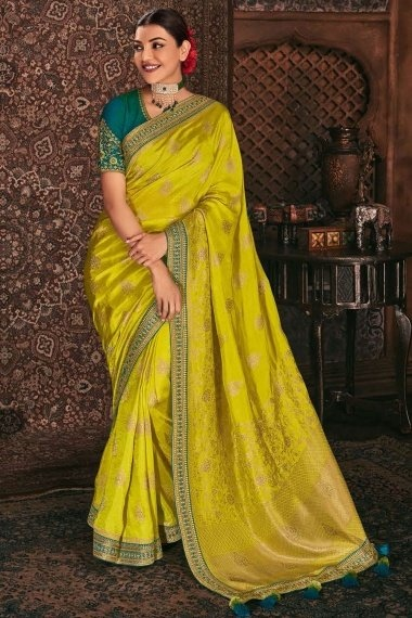 Kajal Aggarwal Lime Green Silk Woven Saree with Embroidered Lace