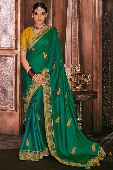 Kajal Aggarwal Green Silk Saree with Embroidered Butta and Border