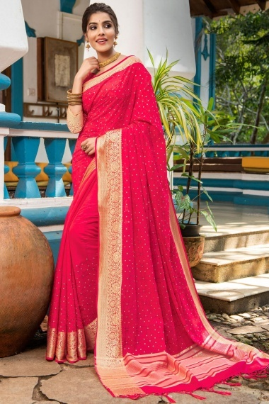Rani Pink Nylon Silk Sequins Worked Saree with Floral Woven Border