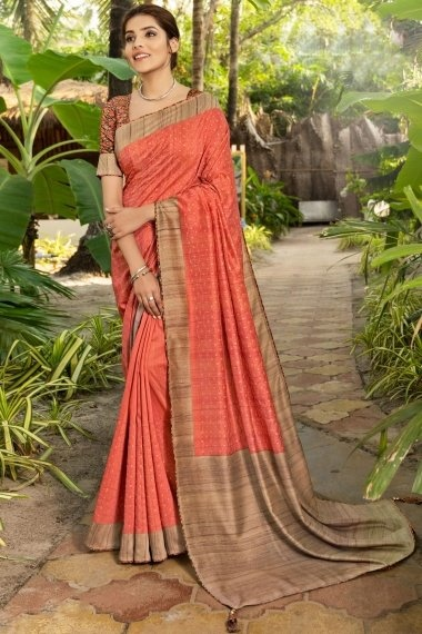 Coral Pink Art Silk Printed Saree with Contrast Border and Pallu