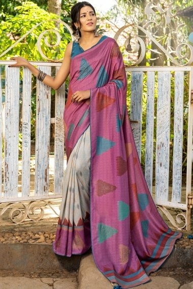 Dusty Pink and Light Grey Art Silk Half and Half Triangle Printed Saree with Stone