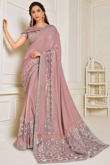 Dusty Pink Lycra Sequins Worked Saree with Designer Blouse