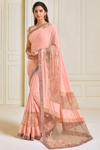 Peach Lycra Fancy Saree with Floral Embroidery and Sequins Work