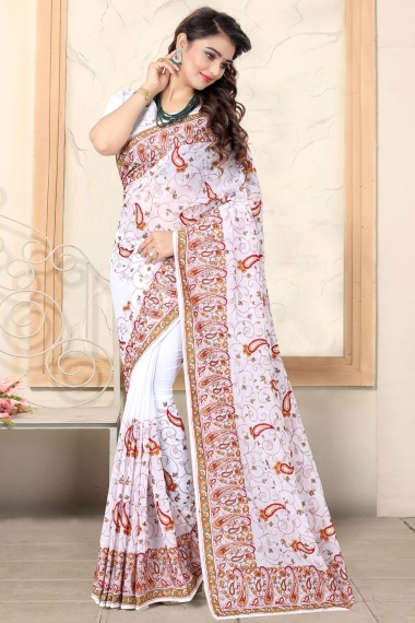 Off White Georgette Phulkari Embroidered Saree with Paisley Motifs