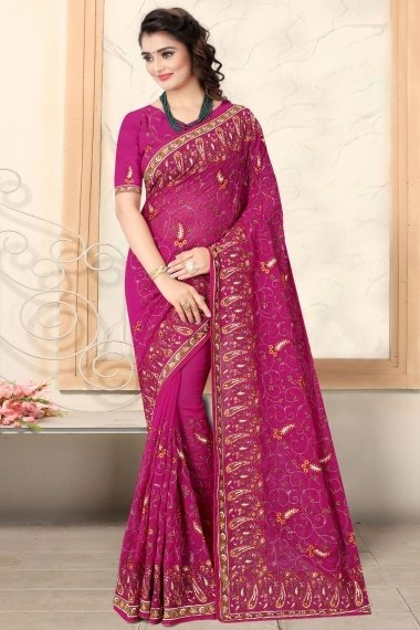 Pink Georgette Phulkari Embroidered Saree with Paisley Motifs