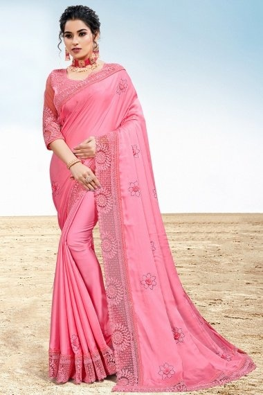Pink Two Toned Satin Silk Saree with 3D Flowers