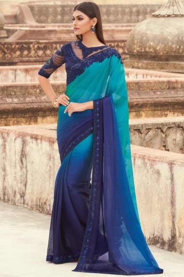 Blue Shaded Georgette Embroidered Border Saree