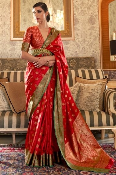Red Silk Saree with Weaving