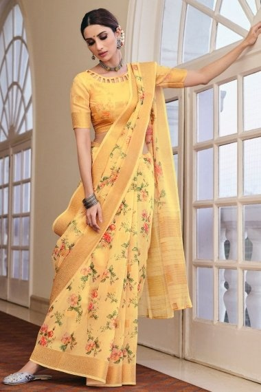 Yellow Linen Saree with Floral Print