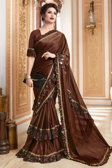 Brown Imported Ruffle Saree