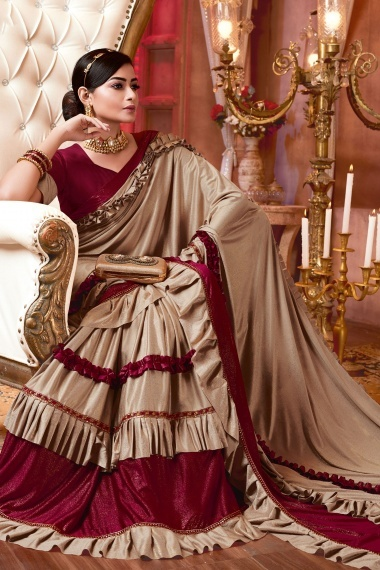 Beige and Maroon Imported Saree